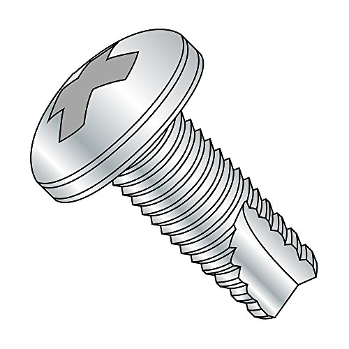 Steel Thread Cutting Screw, Zinc Plated Finish, Pan Head, Phillips Drive, Type 23, #12-24 Thread Size, 1/2' Length (Pack of 50)