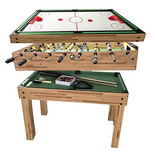 haxTON 3 in 1 Multifunction Combination Game Table Multi Game Table with Pool Table, Air Hockey Table and Foosball Table for Children and Adult (43 inch, 3 in 1)