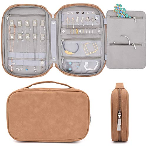 storageLAB Travel Jewelry Organizer, Faux Suede Clutch Bag for Necklaces, Earrings, Rings and Bracelets (Leather Brown)