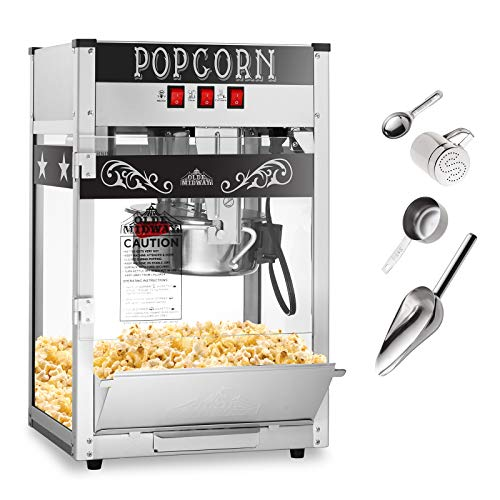 Olde Midway Commercial Popcorn Machine Maker Popper with 8-Ounce Kettle - Black