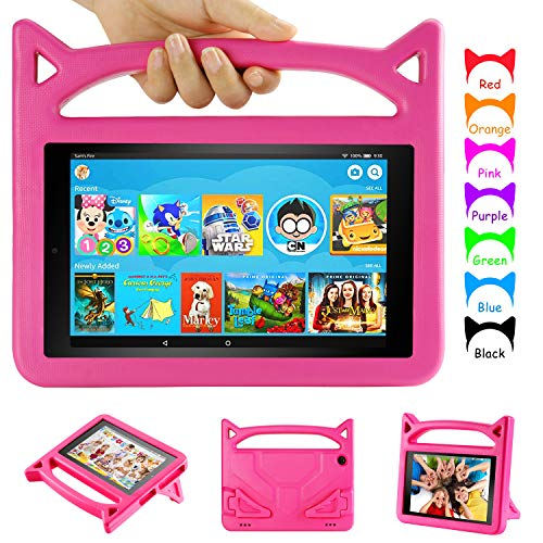 Amazon Fire HD 8 Tablet Case (Compatible with 6th/7th/8th Generation, 2016/2017/2018 Release)-Auorld Kid-Proof Protective Cover with Handle Stand for Kindle Fire 8 Tablet