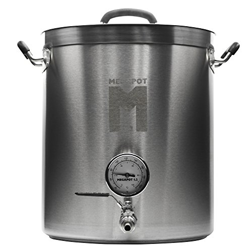 Northern Brewer - Megapot 1.2 Stainless Steel Brew Kettle with Volume Markings (8 Gallon w/Valve and Thermometer)