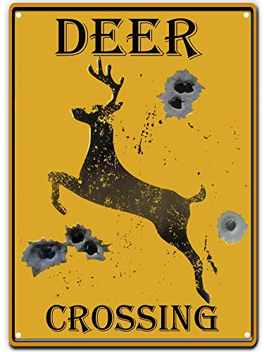 PXIYOU Deer Crossing Tin Sign Bullet Holes Retro Vintage Bar Country Home Decor Caution Yellow 8X12Inch