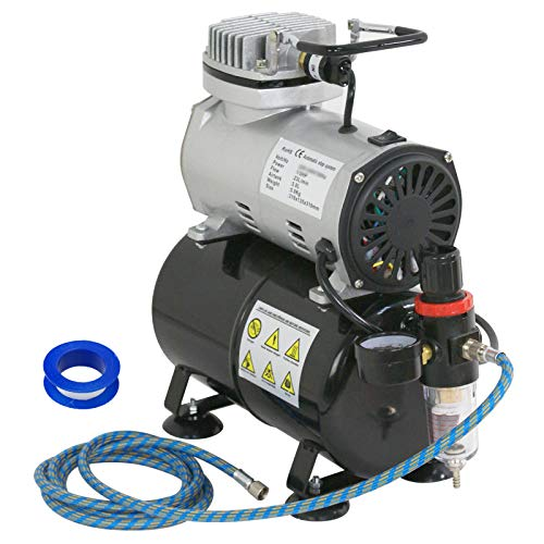 ZENY Pro 1/5 HP Airbrush Air Compressor Airbrushing Kit w/ 3L Tank and 6FT Hose Multipurpose for Spraying Cake Decorating Tattoo Nail Craft Painting