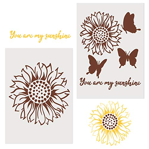 2 Pieces Sunflower Stencils for Painting Decor You are My Sunshine 8 x 11 Inches Inspirational Word Stencils Template for Drawing Painting Spraying Wood Floors Furniture Window Glass Door Wall Sign