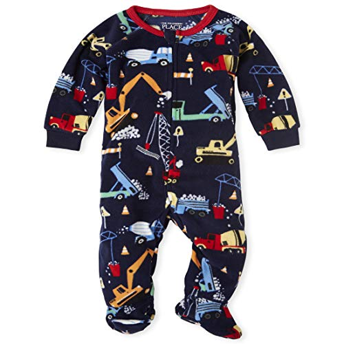 The Children's Place Boys' Baby and Toddler Construction Fleece One Piece Pajamas, Thunder Blue, 3-6 Months