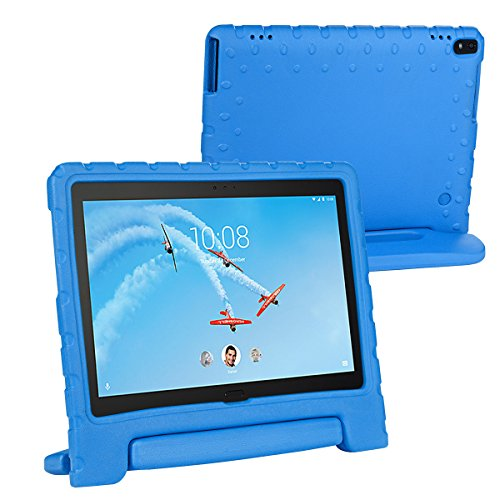 i-original Compatible with Lenovo Tab 4 10/10 Plus Shock Proof EVA Case for Kids Bumper Cover Handle Stand, EVA Convertible Handle Light Weight EVA Protective Stand Bumper Cover, Blue