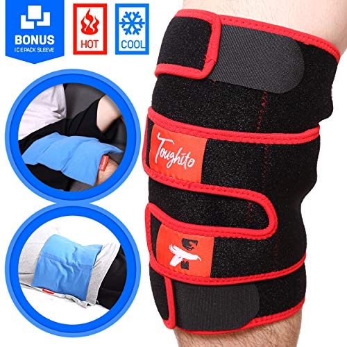 TOUGHITO Hot & Cold Knee Ice Pack Wrap – Compression Knee Wraps for Pain, Swelling, and Recovery with 3 Reusable Hot/Cold Gel Packs + Bonus Ice Pack Sleeve – Comfy Ice Pack for Knee with Wrap Support