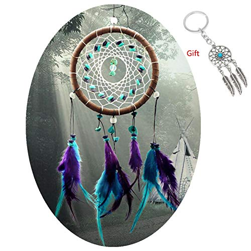 AWAYTR Dreamcatcher Wall Hanging Decor - Gift Handmade Dream Catcher for Room Decoration (Blue&Purple)