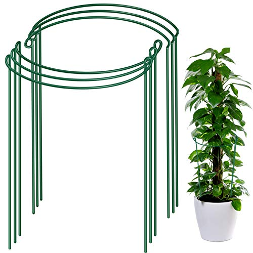 6 Pack Plant Support Plant Stakes, LEOBRO Metal Plant Supports for The Garden, Plant Cage, Plant Support Ring, Plant Support Stake for Tomato, Hydrangea, Indoor Leafy Plants, 9.4' Wide x 15.6' High