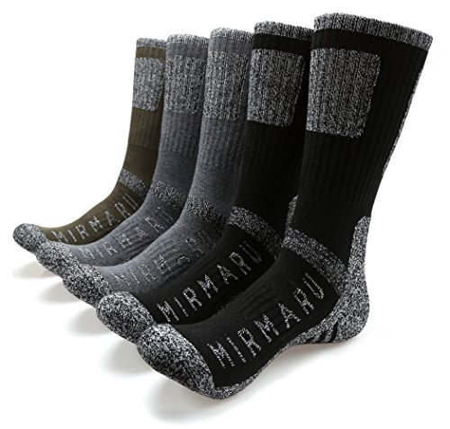 MIRMARU M201-Men's 5 Pairs Multi Performance Outdoor Sports Hiking Trekking Crew Socks (2Black, 2Char, 1Olive)
