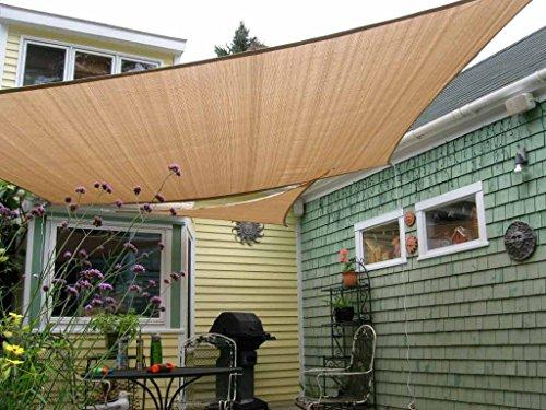 Shade&Beyond 8' x 10' Sun Sail Shade Canopy Rectangle Sand 185GSM Shade Sail for Patio Deck Yard Backyard Outdoor Facility and Activities