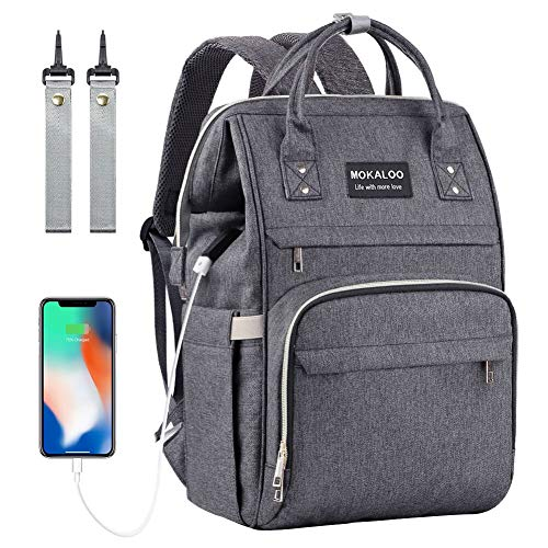 Diaper Bag Backpack, Mokaloo Large Baby Bag, Multi-functional Travel Back Pack, Waterproof Maternity Nappy Bag Changing Bags with Insulated Pockets Stroller Straps and Built-in USB Charging Port, Dark