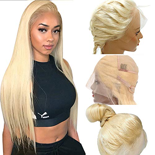 Smartinnov Straight Blonde Human Hair Wigs Pre Plucked Full Lace Wigs Free Part 150% Density 20inches Brazilian Virgin Hair Bleached Knots Thick End Glueless Transparent Tinted Lace Color Wigs