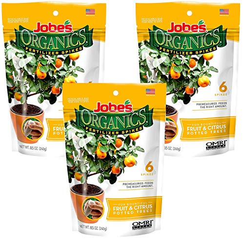 Jobes Organics Fruit & Citrus Tree Fertilizer Spikes, 3-5-5 Time Release Fertilizer for All Container or Indoor Fruit Trees, 6 Spikes per Package (3)