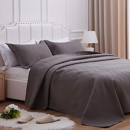 SunStyle Home Quilt Set King Size,Grey Diamond Pattern Bedspread-106 x96, Soft Lightweight Microfiber Coverlet, Luxurious Warm Bed Cover for All Seasons-3 Pieces(Includes 1 Quilt, 2 Pillow Shams)
