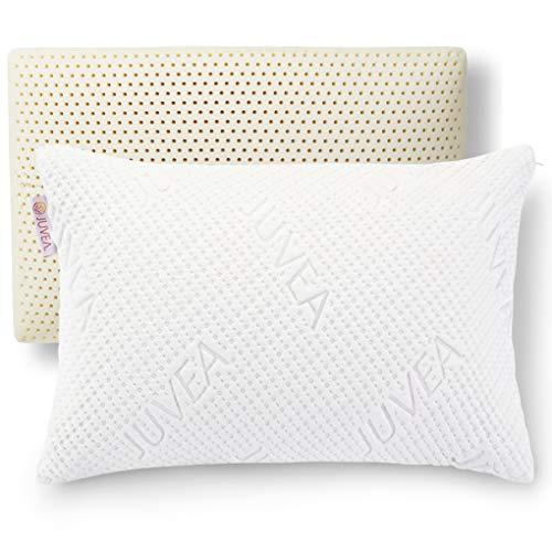 JUVEA Pillow Talalay Latex Pillow - High Loft Latex Foam Pillow with Machine Washable Cotton Cover Medium Firm Natural Latex Pillow Firm Pillows for Sleeping - Side Sleeper Pillow & Stomach Sleeper