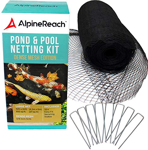 AlpineReach Pond Netting Kit 15 x 20 Feet & 20 Steel Staples - Woven Fine Mesh Heavy Duty Stretch Net Cover for Leaves - Protects Koi Fish from Blue Heron Birds Cats Predators UV - Galvanized Stakes