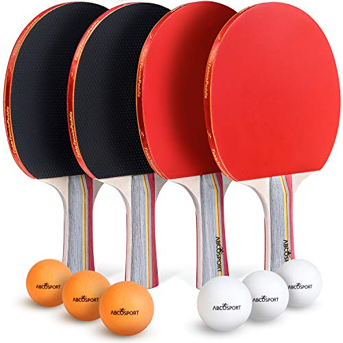 Abco Tech Ping Pong Paddle & Table Tennis Set - Pack of 4 Premium Rackets and 6 Table Tennis Balls - Soft Sponge Rubber - Ideal for Professional and Recreational Games - 2 or 4 Players (3-Star)