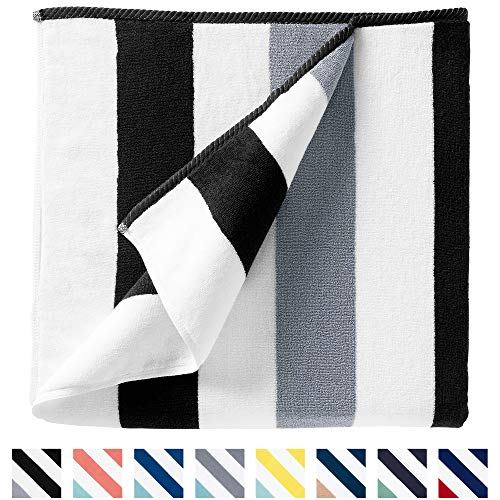 """Cabana Beach Towel by Laguna Beach Textile Co, Oversized Black & Gray Summer Sunbathing and Pool Side Lounge Comfort, Plush Cotton Softness with Colorful Stripes, Large 70"""" x 35"""""""