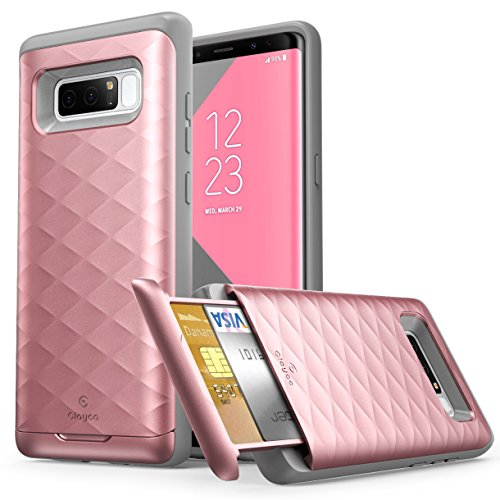 Galaxy Note 8 Case, Clayco Argos Series Premium Hybrid Protective Wallet Case for Samsung Galaxy Note 8 (Built-in Credit Card/ID Card Slot) (Rosegold)