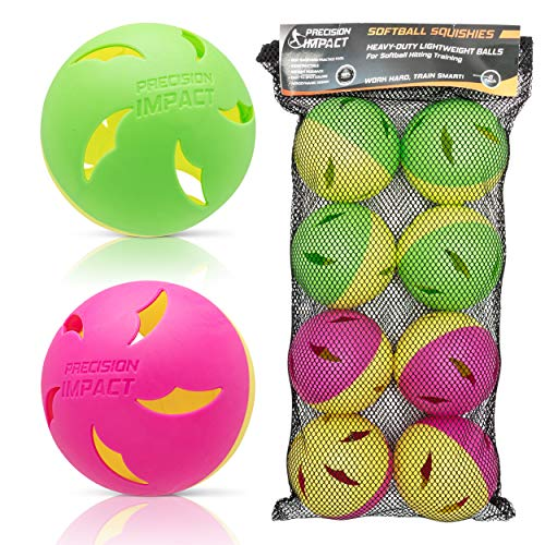 Precision Impact Softball Practice Balls: Heavy-Duty Lightweight Balls for Softball Hitting Training (8-Pack)