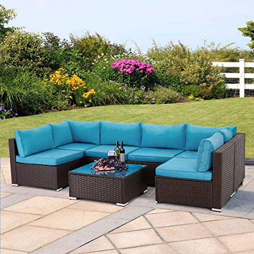 U-MAX 7 Pieces Outdoor Patio Furniture Set, All Weather Brown PE Rattan Wicker Sofa Set, Sectional Furniture Conversation Set with Cushions and Coffee Table for Porch Garden Poolside, Blue