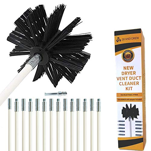 20 Feet Dryer Vent Cleaner kit, Flexible Lint Remover, Bonus Drill Adapter Included, Extends Up to 20 Feet, Fireplace Chimney Brush, Duct Cleaner, Synthetic Brush Head, Use with Or Without Drill