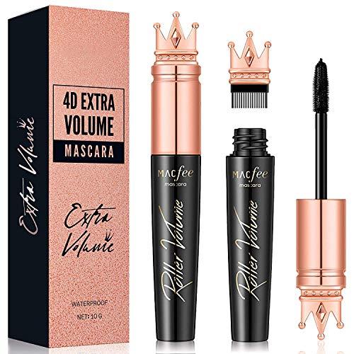 Glossiva 4D Silk Fiber Lash Mascara with Brush- Waterproof, Luxuriously Longer, Thicker, Voluminous Eyelashes, Long-Lasting, Dramatic Extension, Smudge-proof