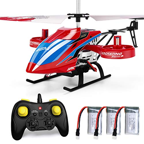 JJRC 4CH RC Helicopter with Remote Control, JX02 Fly Sideway Helicopter Altitude Hold with 3 Batteries in 18 Minutes, One Key Take Off/Landing, Emergency Stop RC Toy Helicopter Gift for Kids (Red)