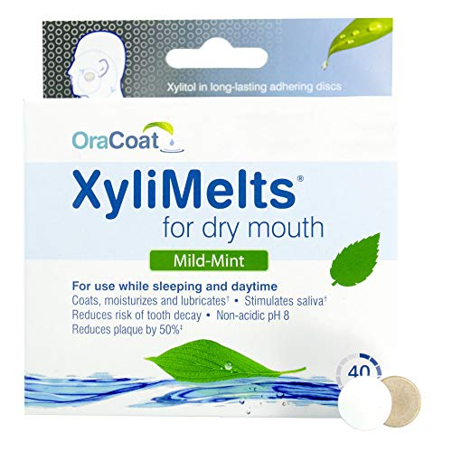 OraCoat XyliMelts Dry Mouth Relief Moisturizing Oral Adhering Discs Mild Mint with Xylitol, for Dry Mouth, Stimulates Saliva, Non-Acidic, Day and Night Use, Time Release for up to 8 Hours, 40 Count