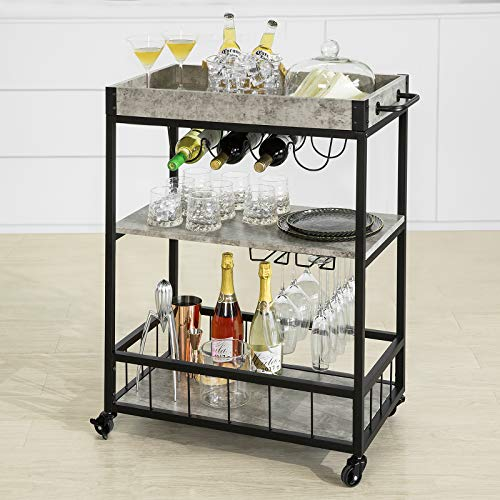 Haotian Bar Serving Cart Home Myra Rustic Mobile Kitchen Serving cart,Industrial Vintage Style Wood Metal Serving Trolley (FKW56-HG)