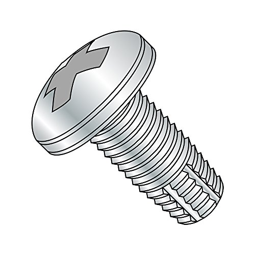 Steel Thread Cutting Screw, Zinc Plated Finish, Pan Head, Phillips Drive, Type F, #12-24 Thread Size, 1' Length (Pack of 50)
