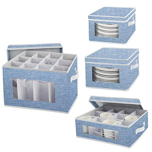 Dinnerware Storage Set, China Dishes Storage Chests for Coffee Tea Cups Wine Glasses Plates with Lid and Handles, Hard Shell and Stackable, Set of 4 (Blue)