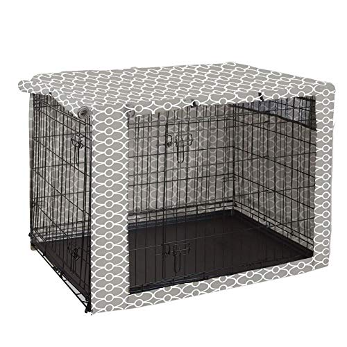 Dog Crate Cover Durable Polyester Pet Kennel Cover Universal Fit for Wire Dog Crate - Fits Most 30' inch Dog Crates - Cover only-Gray-30
