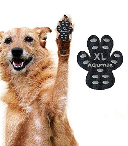 Aqumax Dog Paw Protector Anti-Slip Traction Pads from Slipping on Hardwood Floors,Walk Assistant for Your Senior Dogs 48 Pads XL Black