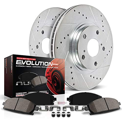 Power Stop K5550 Front Brake Kit with Drilled/Slotted Brake Rotors and Z23 Evolution Ceramic Brake Pads