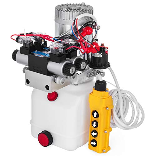 Happybuy Hydraulic Pump Double Acting Hydraulic Power Unit Double Solenoid Hydraulic Power Pack 12V DC Hydraulic Power Pump with 4.5Liter Reservoir for Dump Trailer Car Lifting