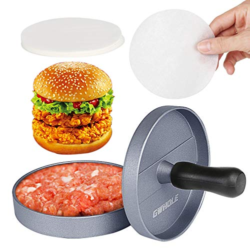 GWHOLE Non-Stick Burger Press Aluminum Hamburger Patty Maker with 100 Wax Papers for BBQ Grill
