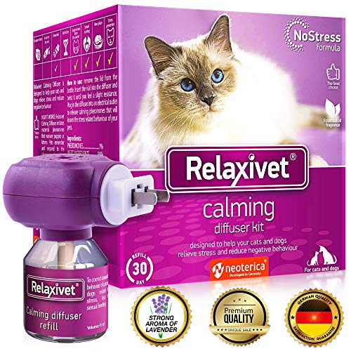 Relaxivet Cat Calming Pheromone Diffuser - Improved No-Stress Formula - Anti-Anxiety Calm Treatment #1 for Cats and Dogs with a Long-Lasting Relax Effect (Diffuser + Refill)