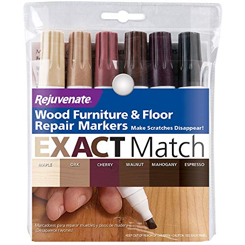 Rejuvenate New Improved Colors Wood Furniture & Floor Repair Markers Make Scratches Disappear in Any Color Wood Combination of 6 Colors Maple Oak Cherry Walnut Mahogany and Espresso