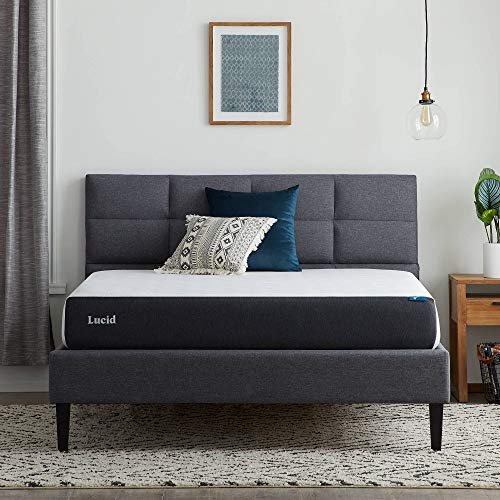 Lucid 8 Inch Gel Memory Foam-Mattress – Firm Feel – Gel Infusion – Hypoallergenic Bamboo Charcoal – Breathable-Cover