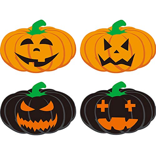 Creahaus Halloween Pumpkin Placemats Set of 4, Double-Sided Printed Pumpkin Table Place mats for Halloween Decoration Dinner Party Tableware Decor