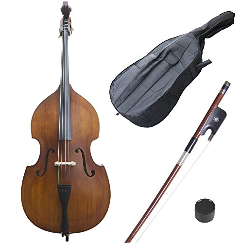 Cecilio CDB Upright Double Bass with an Adjustable Bridge, Bow, Rosin, and Gig Bag (Size 3/4, Natural-100)
