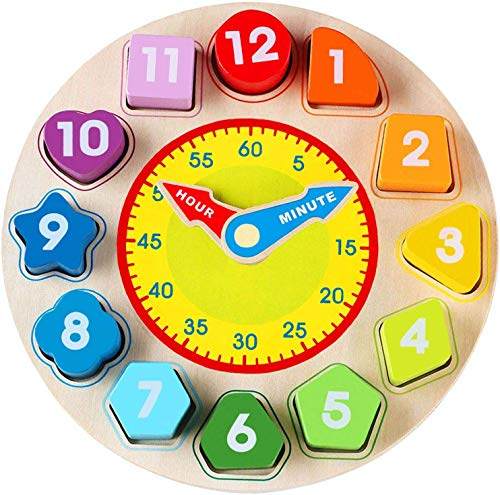 Jamohom Wooden Shape Sorting Clock-Teaching Time Clock Shape Sorting Number Blocks, Early Learning Wooden Montessori Educational Toy for 1 2 3 Year Old Toddler Baby Kids