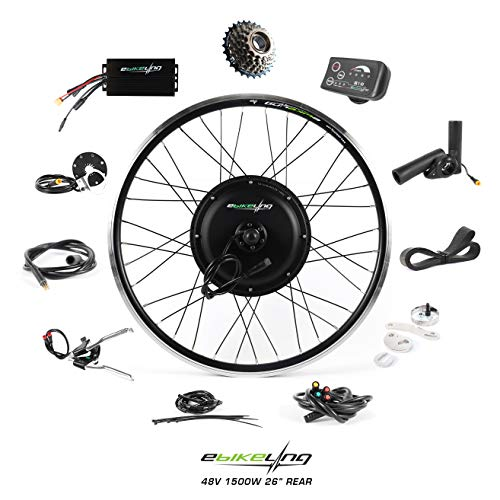 ebikeling 48V 1500W 26' Direct Drive Rear Waterproof Electric Bicycle Conversion Kit (Rear/LED/Thumb)