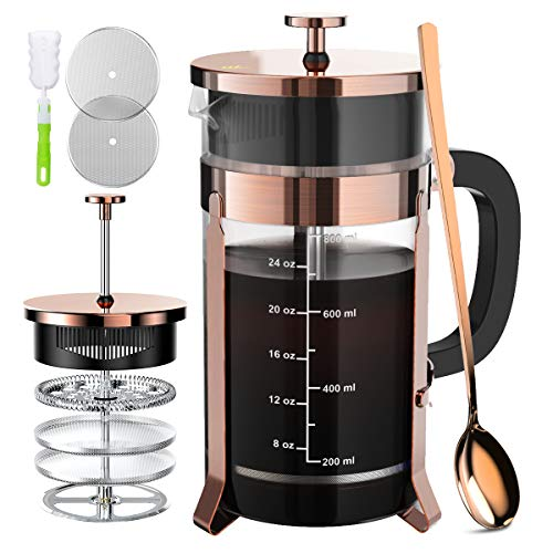 French Press Coffee Maker with 4 Filters, Durable 304 Grade Stainless Steel Heat Resistant Borosilicate Glass Tea Maker (8 cups, 34 oz), Copper
