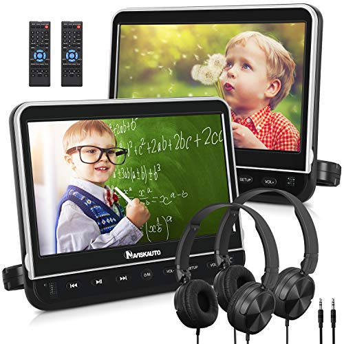 NAVISKAUTO 10.1' Dual Car DVD Players with 2 Headphones Mounting Bracket Support 1080P Video HDMI Input Sync Screen Region Free(2 x Headrest DVD Players)