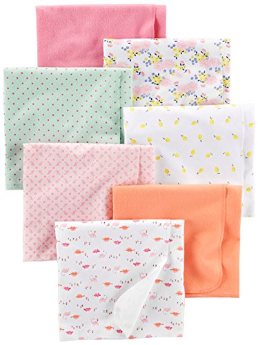 Simple Joys by Carter's Baby Girls' 7-Pack Flannel Receiving Blankets, Floral/Pink/Mint/Lemon/Dino, One Size