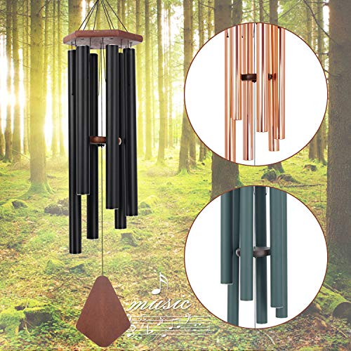 ASTARIN Wind Chimes Outdoor Large Deep Tone, 44 Inch Sympathy Wind Chime Outdoor, Memorial Wind-Chime with 6 Tuned Tubes, Elegant Chime for Garden, Patio, Balcony and Home Decor, Matte Black
